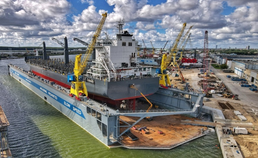 The largest dock in the Baltic States owned by the Western Shipyard, member of BLRT Grupp, accepts the first ship for repairs